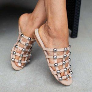 RAYE Studded Flat Sandals